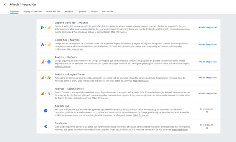 Integraciones analíticas en Google Marketing Platform