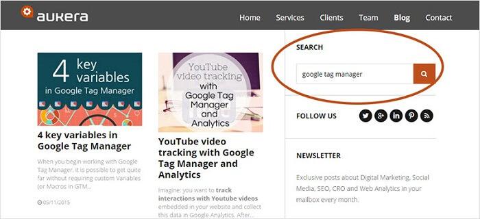 Internal search engine