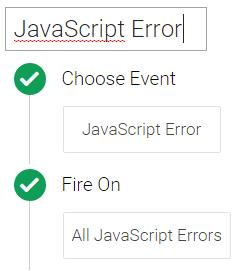 Javascript error trigger tag manager