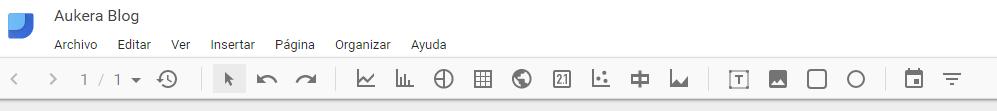 menú principal google data studio