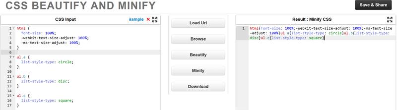 Comprimir hojas de estilo con Minify
