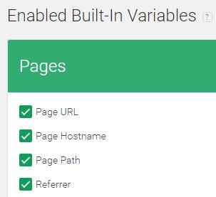 Page variables for tag manager triggers