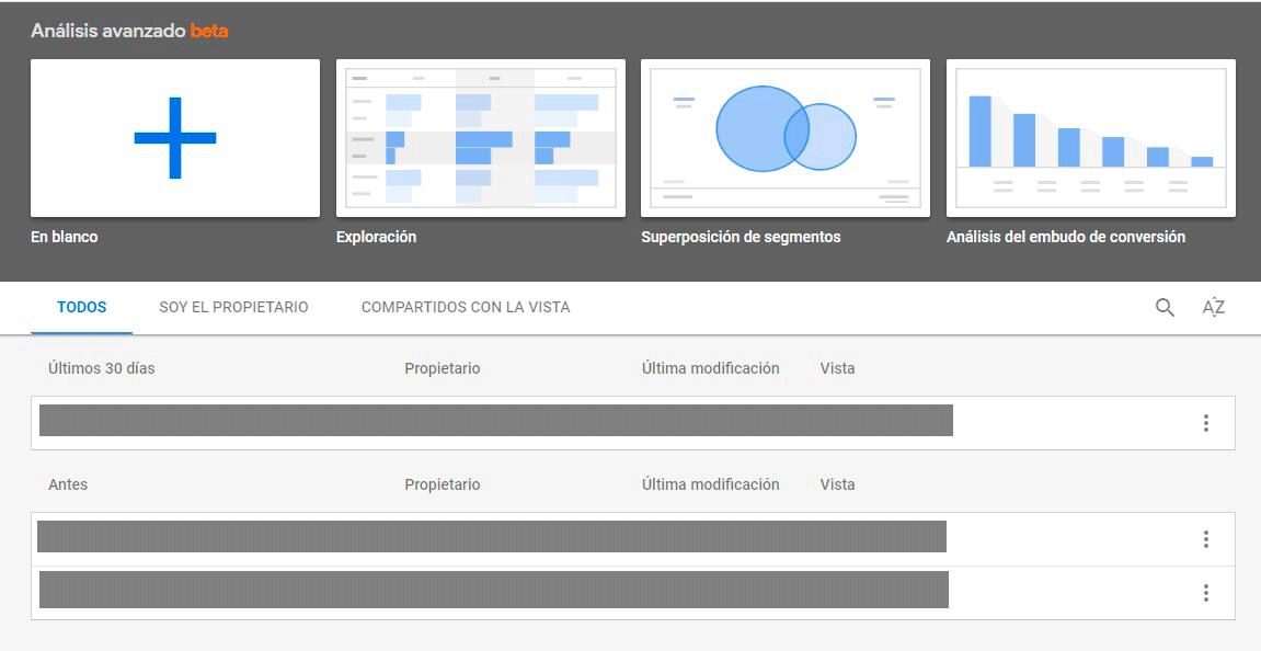 Interfaz Análisis Avanzado Google Analytics 360