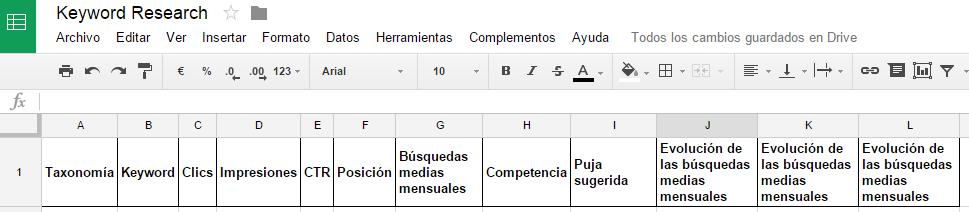 Ejemplo plantilla hoja de cálculo para Keyword Research