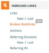 Menú Inbound Links - Broken Backlinks