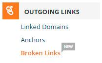 Menú Outgoing Links - Broken Links