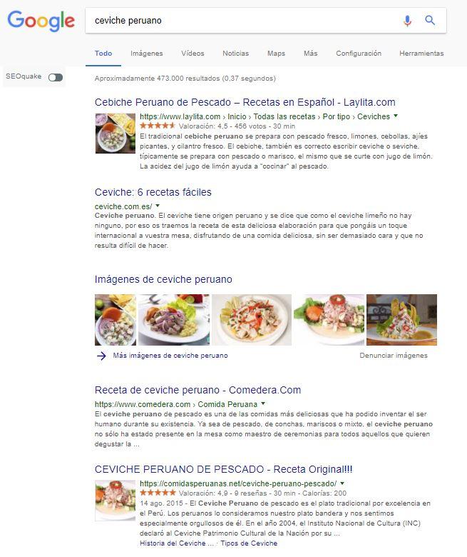 ceviche peruano serps google