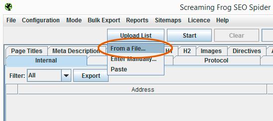 Subir archivo XML en Screaming Frog