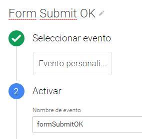 Evento personalizado envío de formulario GTM
