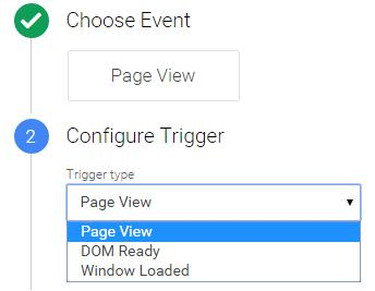 Triggers google tag manager: pageview, dom or load