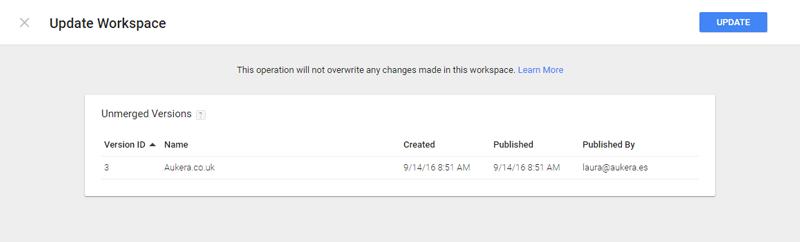 Update GTM workspace