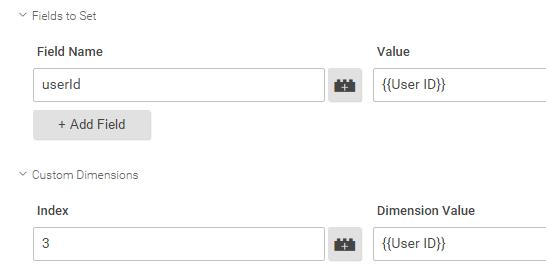 User ID Tag Manager field to set setting