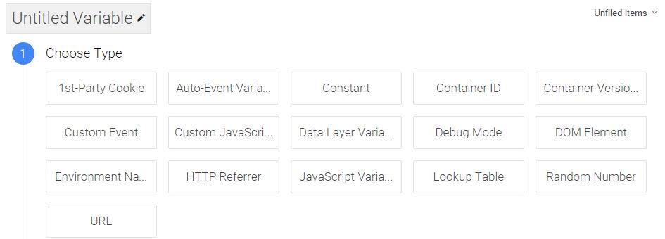 Tipos de variables de Google Tag Manager