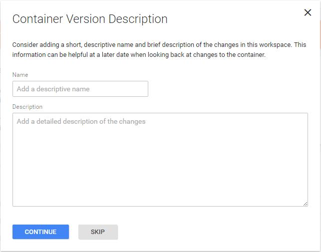 GTM container version description