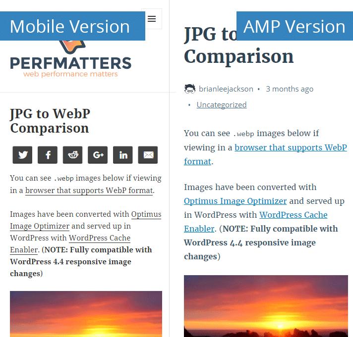 Mobile version vs. AMP version