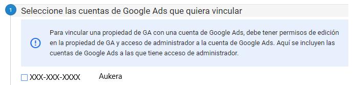 Selección de cuenta para la vinculación de Google Ads y Google Analytics