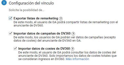 Configuración de la vinculación de Google Analytics con Display & Video Ads 360