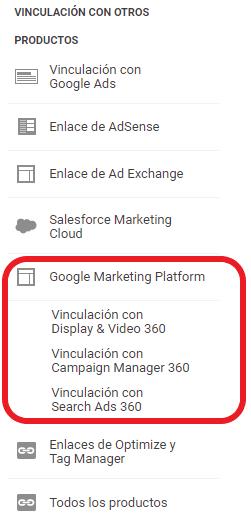 Vinculación de Google Analytics con Google Marketing Platform