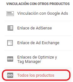 Vinculación de Analytics con todos los productos