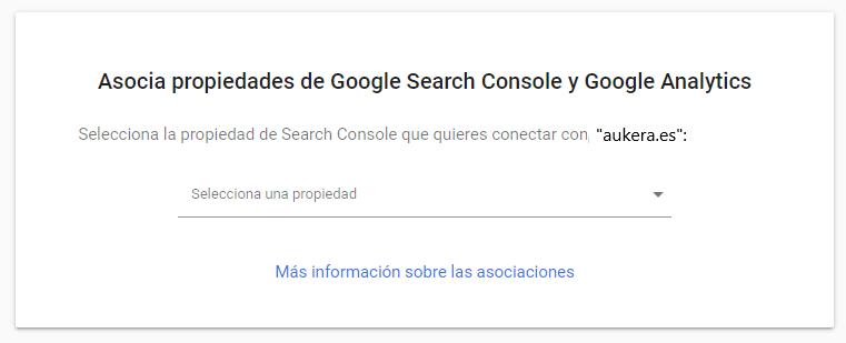 Configuración de la vinculación de Analytics con Google Search Console
