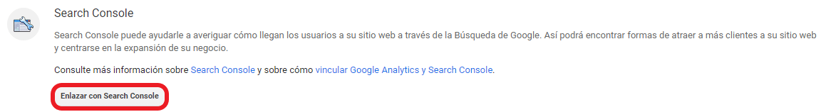 Vinculación de Analytics con Google Search Console