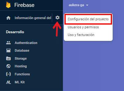 Vinculación de Firebase y Google Analytics