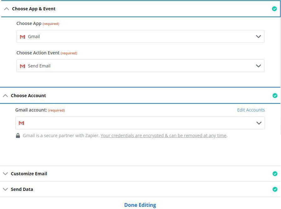 Escoger el evento y la app para el webhook