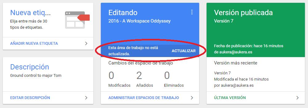Actualización workspace desde overview