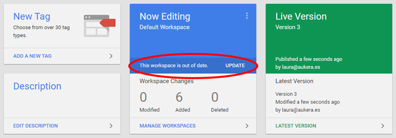 Workspace update in overview panel