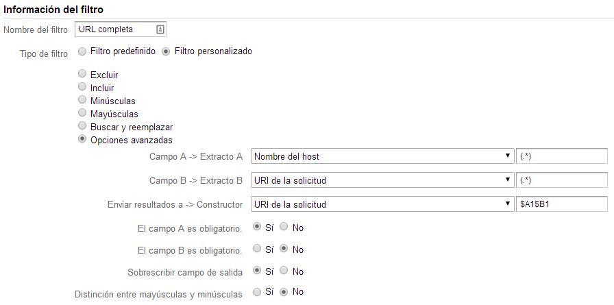Filtro para ver la URL completa en Google Analytics